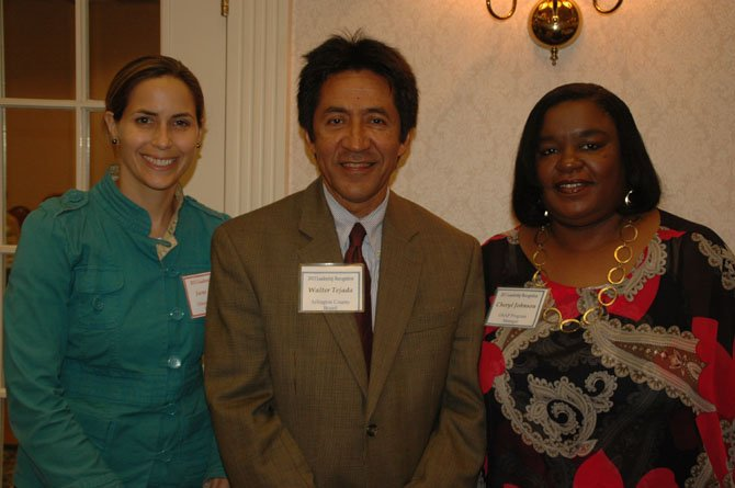 From left: Jane Rudolph, director, Department of Parks and Recreation; Walter Tejada, chairman, Arlington County Board, and Cheryl Johnson, manager, Office of Senior Adult Programs.