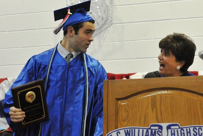 2013 Principal's Awardee Michael Patrick McGonagle and school principal Suzanne Maxey.