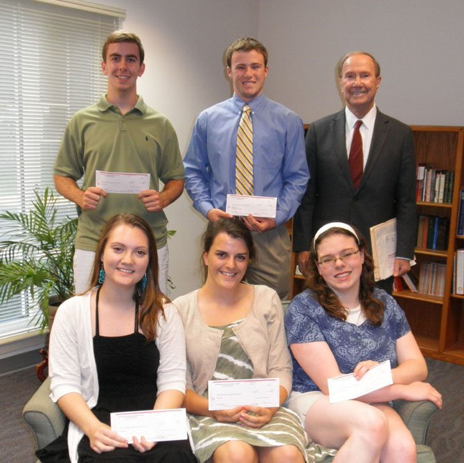 Scholarship recipients Natalie Hurd, Rosie Vita, Katherine McPherson, Trevor Woods and Ben Aleixo with Aldersgate Endowment chair Roger Amole.