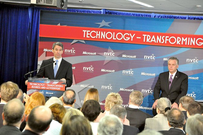 From left, Virginia gubernatorial candidates Ken Cuccinelli  and Terry McAuliffe address members of the Northern Virginia Technology Council Thursday, June 20.