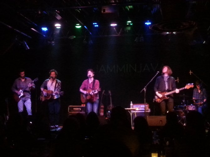 Luke Brindley with fellow performers on-stage at Jammin Java.