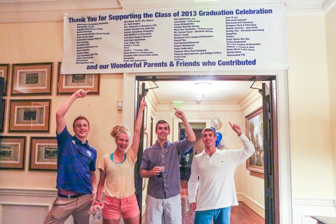 Joey Pritchett, Sohia Passacantando, Trevor Woods and Corey Rosenberg party beneath the sponsor thanks banner outside the ballroom.