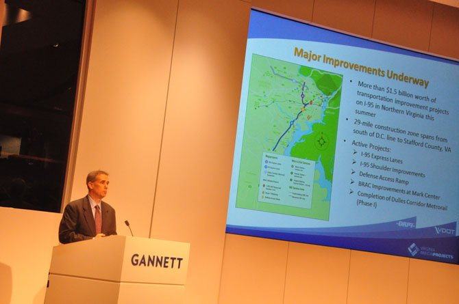 John Lynch, Regional Transportation program director for VDOT, speaks at the annual Keep Tysons Moving event Thursday, June 27.
