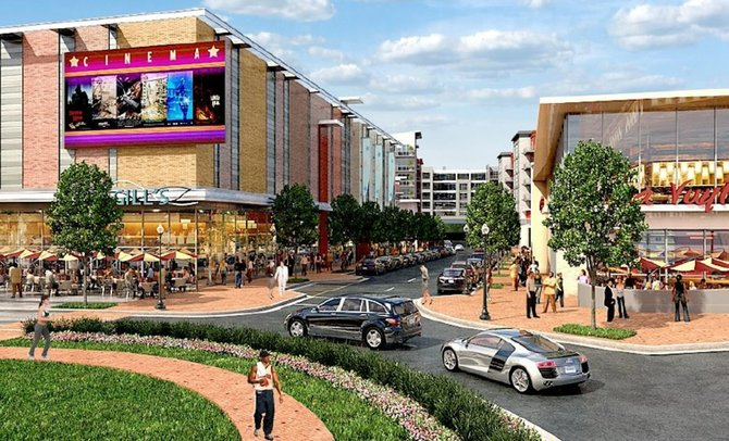 A grid of new streets will accommodate pedestrian-friendly shopping.