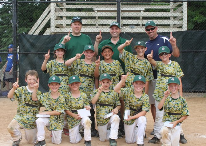 The 9U Vienna Knuckleheads won the Greater Washington 4th of July Tournament. This is the first time this newly formed team has played in a tournament together. First row: Dean Vance, Jack Emory, Ethan Rowles, Tyler Schoeberlein, Jaden Kritsky, Kevin Wilson. Second row: Hunter Moss, Ryan Salvosa, Alex Jreige, Bryce Eldridge, Nick Toole. Coaches: Adam Vance, Greg Rowles, Ben Eldridge (not pictured: JT Landwehr).