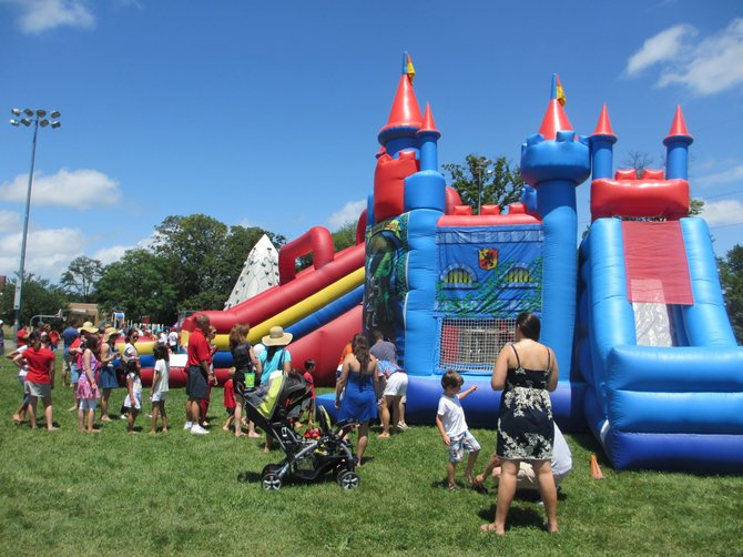 The inflatable castle and the rock-climbing wall had lines, although the caterpillar and obstacle course offered quick access.