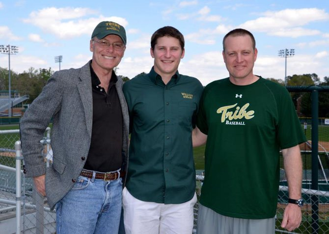 John Yoest (center), a 2013 Yorktown High School graduate, will play baseball at the College of William and Mary. Also pictured are Yoest's father, Jack Yoest (left), and William and Mary baseball coach Jamie Pinzino.