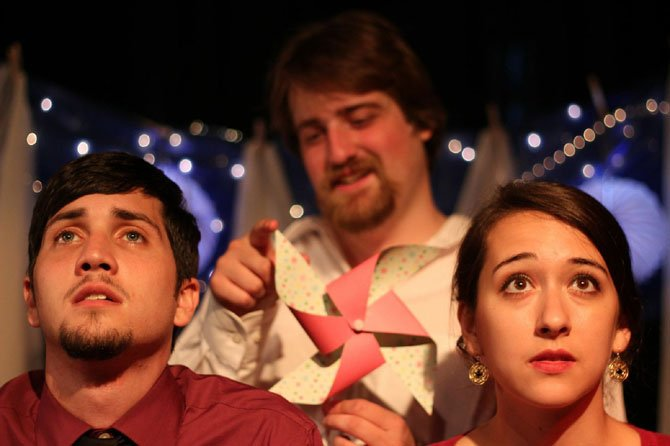 "From left, Wilson Murphy as Peter, Matthew Schott of Reston as The Narrator, and Kelsey Secules as Kari, in Critical Point Theatre's inaugural production of Craig Wright's ""The Pavilion."" The production is currently touring through Virginia and Maryland."