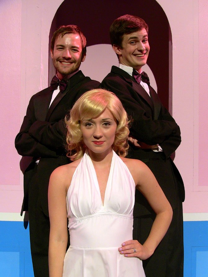 Posing in character are (from left) are Mitchell Buckley and TJ Vinsavich with Madeleine Bloxam.