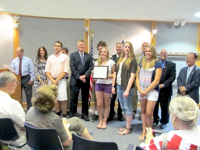 Members of the Audrey Moore Rec Center Rescue Team—Sophie Polnow, Tim Polnow, Connie Polnow, Corey Stoney and Faith Garrish—were honored during the 2013 Best of Braddock Awards Wednesday, July 10 at the Kings Park Library.