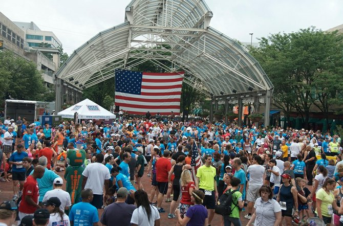The Firecracker 5K for the Troops held on July 4 at Reston Town Center benefited the USO of Metropolitan Washington, a nonprofit that provides support services to military members and their families living in the area.