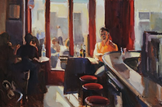 "Seat by the Window: Montmartre,"" oil, by Jill Banks."
