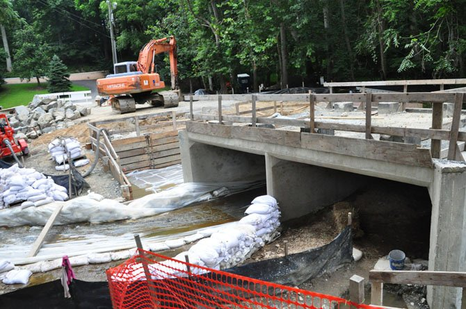 The replacement of the bridge at Beach Mill Road is almost halfway complete, and VDOT estimates it will be completed by late August.
