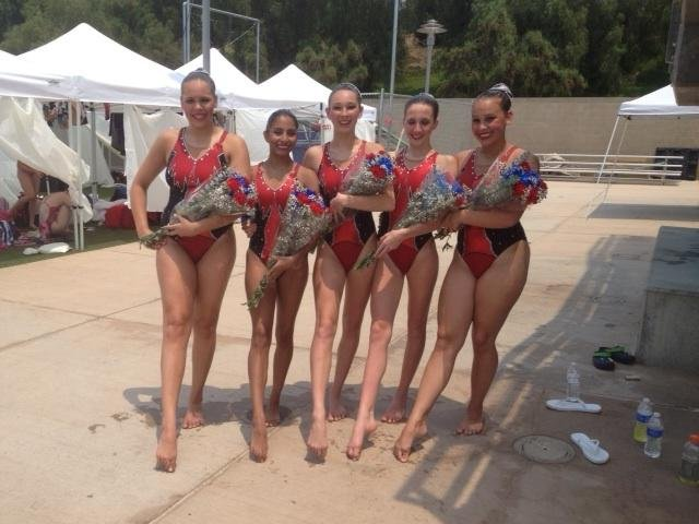 The Northern Virginia Nereids synchronized swim team after they participated in the finals at Age Group National Synchronized Swimming Championship in Riverside, Calif.: Connie Polnow (Lake Braddock Secondary School), Monica Olivo (Lake Braddock Secondary School), Margot Baden (Woodson High School), Jackie Hafner (Robinson Secondary School), and Mikaela Voegele.