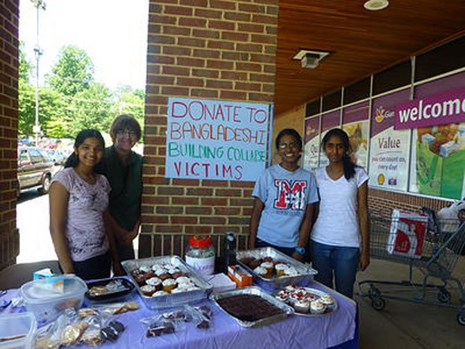 Members of Children's Trust Fund participate in a bake sale on June 22: From left, Vice President Joshna Seelam, Marshall math teacher Sandra Ludden, President Celia Islam, and CTFund member Ashritha Ch. Proceeds from the fundraiser went to help the families of victims of the factory that collapsed in Bangladesh in April.