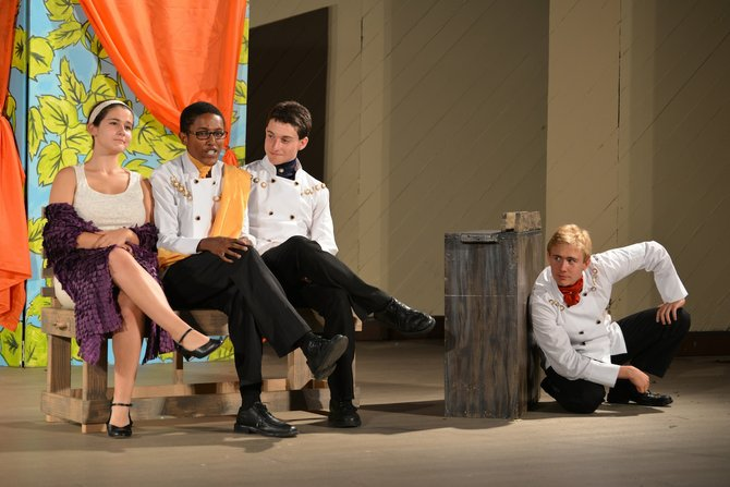 "Local high school students, from left, Maresca Brand, Ryan Fields, Ben Stein-Lubrano and Christopher Baughman, are on the road with the Traveling Players Ensemble production of ""Much Ado About Nothing."" The troupe will be back in town Friday, Aug. 9 at Madeira School, for the play's closing night."