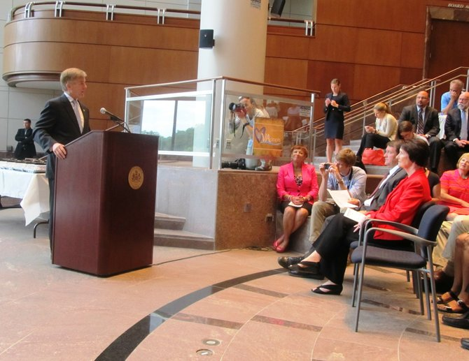 "More than 100 people turned out to welcome Virginia Governor Bob McDonnell who was at the Fairfax County Government Center Tuesday, July 30, to promote his ""Virginia Adopts: Campaign for 1,000"" initiative."