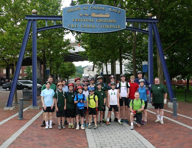 Troop 1978 took a four-day bicycle tour of the C&O Canal from Cumberland, Md., to Washington, D.C. The Scouts: front row, from left: Heather Barrett, Max Butler, Ryan O'Connor, Peter Barrett, Alex Cann, James Packer, Michael Fronzaglia, Nick Ruszkowski, Carl Packer (kneeling), Tara Ruszkowski, Paul Renard. Second Row, from left: John Mee, Elizabeth MacGregor, Lukas Butler, Carl Packer, Andrew Nicholson, Max Cretal, Douglas Preaskorn, Eric Cann, Andy Doran, William Doran.