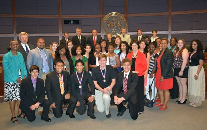 Supervisor John Foust (D-Dranesville) and other members of the Fairfax County Board of Supervisors recognized the Herndon High School Step Team and coach Gary Bushrod as 2013 Youth Step USA National Champions at their July 30 meeting.