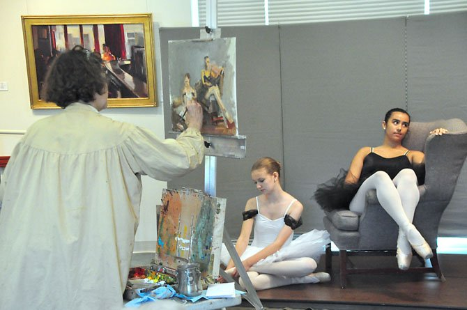 Artist Jill Banks paints, from left, Sydney Parks and Dylan Murphy, students from the School of Theatrical Dance, at the Great Falls Library Saturday, Aug. 10.