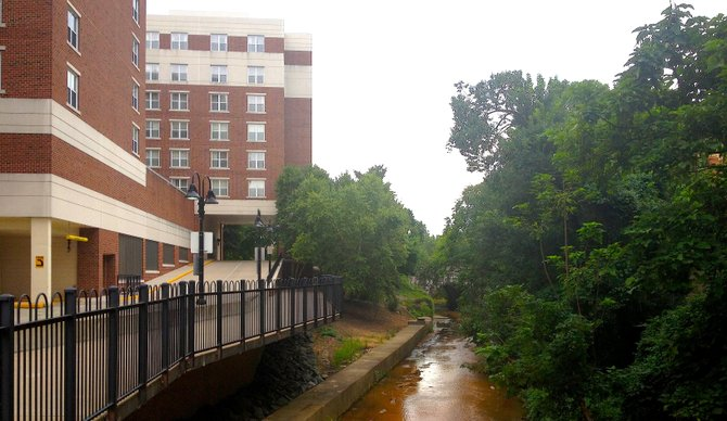The outfall next to the Residence Inn on Duke Street overflows after about 0.16 inches of precipitation. That happens about 28 times a year for an average of eight hours at a time.