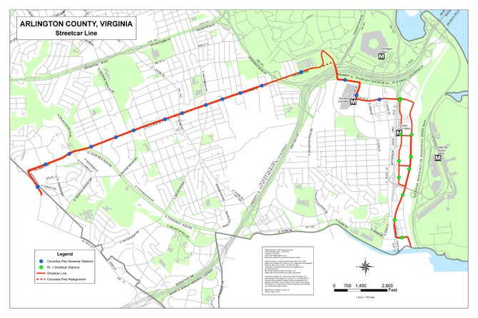 This map show how the Columbia Pike streetcar will extend into Fairfax County along Jefferson Street.