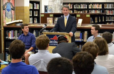 Republican Attorney General Ken Cuccinelli unveils his education agenda at Maggie Walker Governor's School in Richmond.