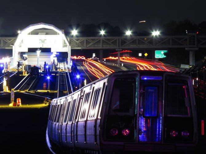 Nighttime testing along the Silver Line: Eastbound train leaving the Wiehle-Restom East Metrorail Station.