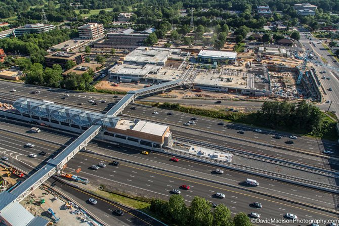 An aerial view of the Wiehle Avenue station, and the Reston Station development.