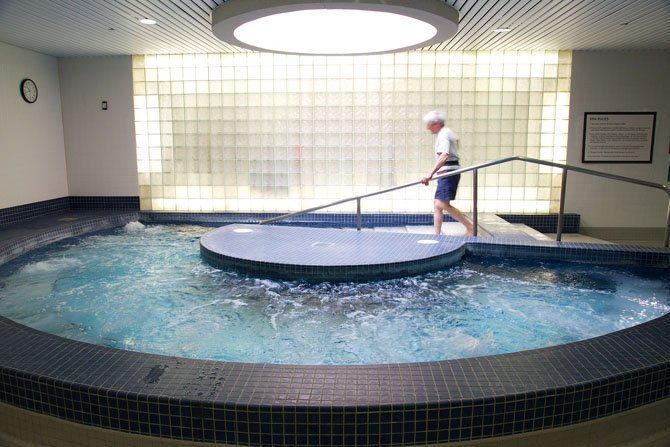 The Terry L. Smith Aquatics Center 16-seat hot tub.