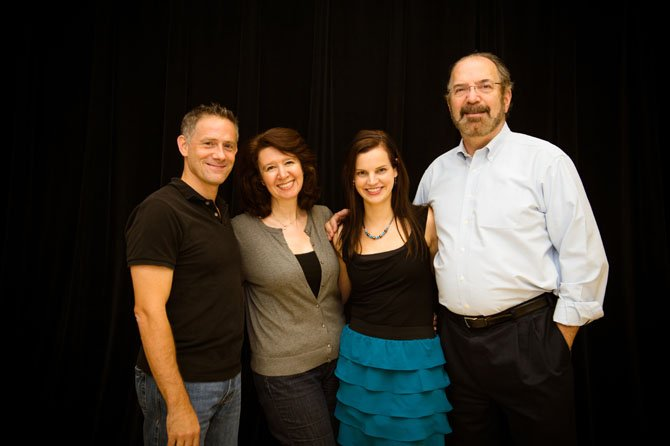 "Cast of McLean Community Players' ""Time Stands Still,"" from left: Michael Himes, Leta Hall, Andra Dindzans and Jon Roberts."