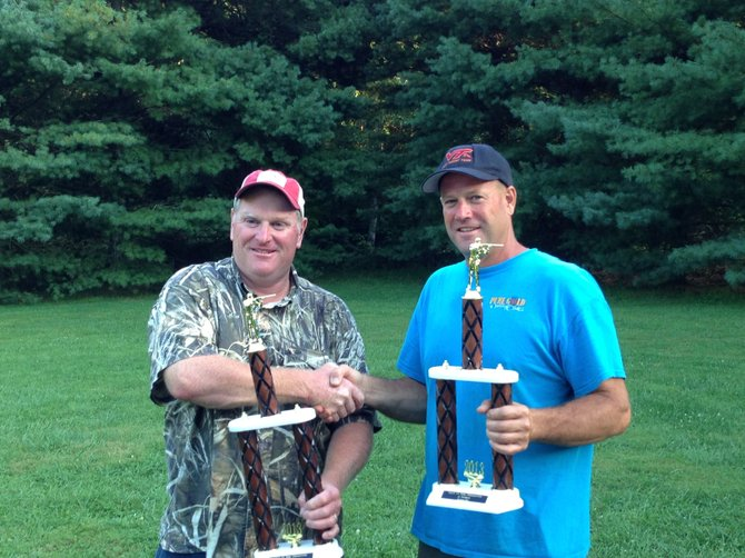 Virginia State Sporting Clays champion James McGowan, left, and runner-up Barry Moore Jr.