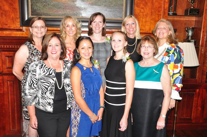 Bottom from left, Ricki Harvey, Caroline Benitah, Kathleen Wells and Judy Shah Mahanes. Top from left, Allison Grandstedt, Annette Kerlin, Mary Butcher, Roz Drayer and Laura Bumpus. Benitah, Wells and Butcher were awarded scholarships by the Great Falls Friends and Neighbors Friday, Sept. 13.