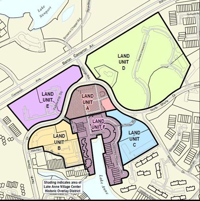The various land units surrounding Lake Anne. The Fairfax County Board of Supervisors recently approved an interim agreement with a developer for Land Unit D and A.
