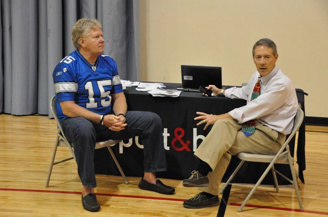 From left, former NFL player John Stufflebeem and Dr. Gerald Gioia, chief of the Division of Pediatric Neuropsychology at Children's National Medical Center, discuss concussions and their effects at Worldgate Sport and Health Tuesday, Sept. 10.
