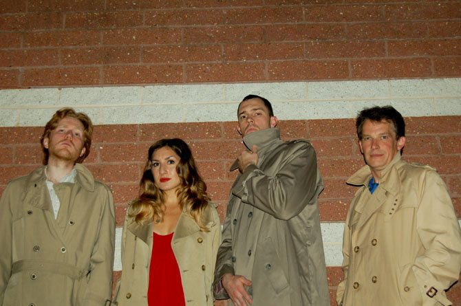 """The 39 Steps"" cast, from left: Evan Crump, Emily Levey, James Finley and Nick Rose."