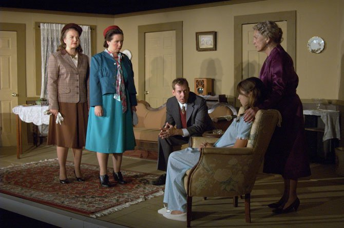 "Chelsey Magli (Martha Dobie), Michelle McBeth (Karen), Ric Anderson (Dr. Joseph Cardin), Katelyn Wattendorf (Mary Tilford) and Carole Steele (Mrs. Amelia Tilford) in ""The Children's Hour."""