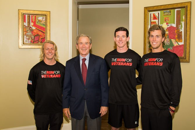 Team O'Toole, (Tim Dwyer, Brendan O'Toole and Joey Dwyer) meets with former President George Bush during a stop in Dallas.
