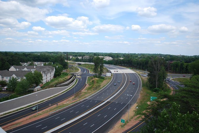 An aerial view of the new Fairfax County/Fair Lakes Parkway interchange, plus the widened section of the Fairfax County Parkway.