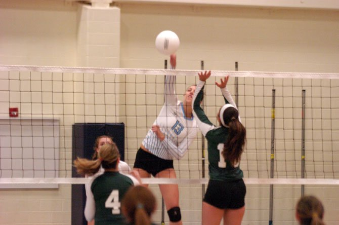 Yorktown senior outside hitter Haley Molnar finished with nine kills against Falls Church on Monday.