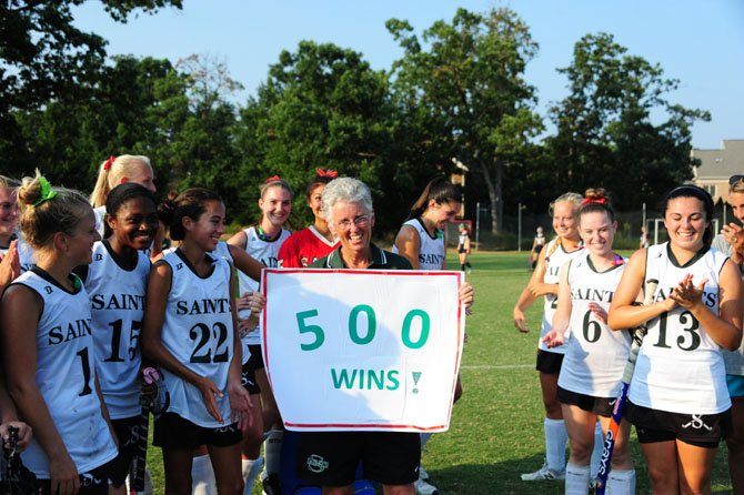 St. Stephen's & St. Agnes field hockey coach Marsha Way reached 500 career victories on Sept. 10 after the Saints defeated Good Counsel.