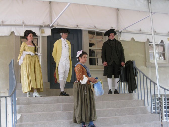 Dressed in 1770s attire from the American Revolution-era are (back row) Kimberly Walters, Harry Aycock, Paul McClintock and (front) Nicki Foronda.