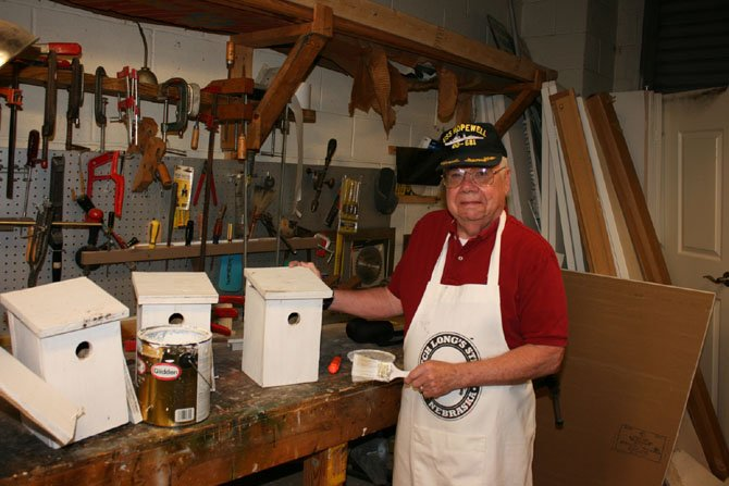 Jim Harkin, a resident of The Fairfax in Fort Belvoir, helped build, refurbish and maintain more than 20 birdhouses on the grounds, including homes for tree swallows and purple martins.