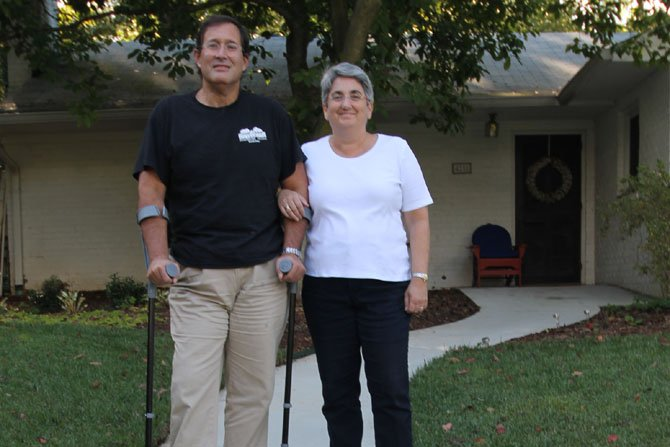 Arlington seniors Jaime Marquez and Janice Shack-Marquez on their newly designed accessible front walk.