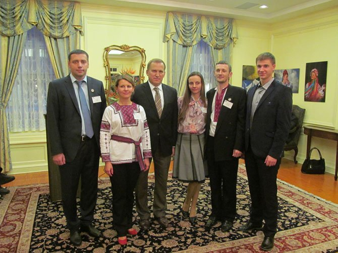 Members of the Ivano-Frankivsk Open World Delegation who visited Arlington from the Ukraine for 10 days include, from left: Igor Rudko, Oleksandra Fedoruk (president of the Ifano Frankivsk/Arlington Sister City organization), Ambassador Oleksandr Motsky, Oleksandra, Andriy Farmuha and Mykola Havryliak.