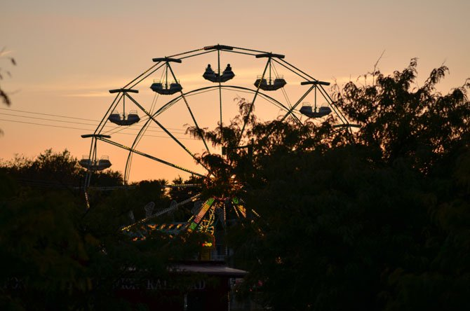 Herndon Fall Carnival ferris wheel at dusk.
