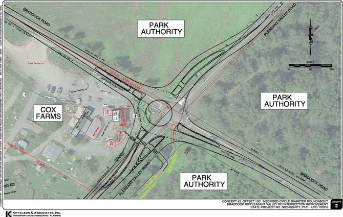 A diagram of the roundabout proposed for the intersection of Braddock and Pleasant Valley roads in Centreville.