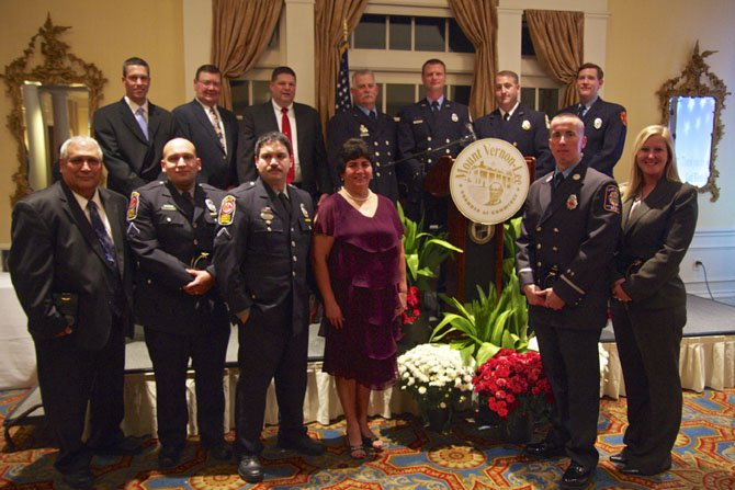 Officers, EMTs, and firefighters were honored in the Mount Vernon-Lee Chamber of Commerce 2013 Tribute at the Belle Haven Country Club on Sept. 27. Not present was firefighter Randall Schwartz of Penn Daw Station.