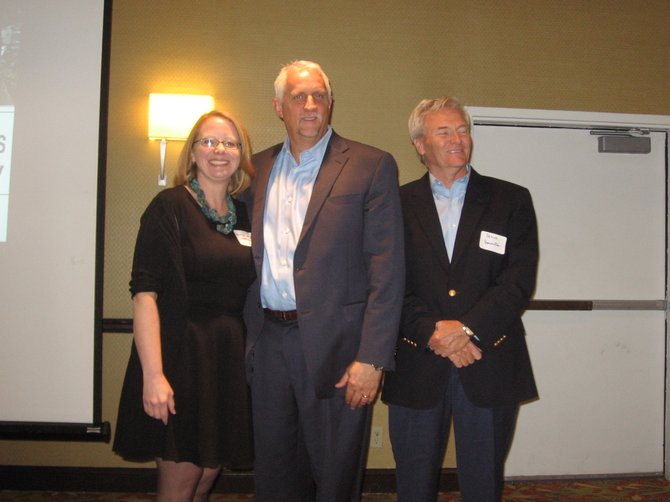 "From left: Heather Arnold, Streetsense; John Tschiderer, Federal Realty Investment Trust, and Steve Bannister, Capital Investment Advisors participated in the Sept. 25 ""Vibrant Streets Summit"" organized by the Southeast Fairfax Development Corporation and held at the Hampton Inn & Suites."