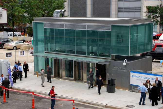 County officials staged a ceremony to celebrate the opening of improvements to the Rosslyn Metro station Monday.